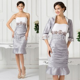 Fashion Embroidery Knee Length Winter Cocktail dress Short Party Gown Women Mother of the Bride Dresses with jacket CL6266