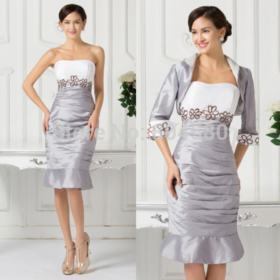Fashion Embroidery Knee Length Winter Cocktail Dress Short