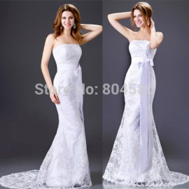 Design Sheath Bodycon Bandage dress Strapless Beach Wedding Dresses Gown Lace Applique Party dresses Long  CL2527