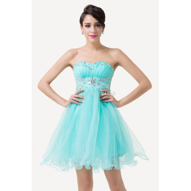 Fashion Blue Short Design Knee Length Ball Gown Prom dress Formal Quinceanera Homecoming dresses for Girl Party CL6179