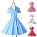 Fashion Short Sleeve 50s 60s Swing plus size Rockability Retro dresses Women Vintage Polka Dots Prom Gown dress CL6089