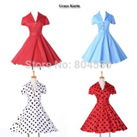 Fashion Short Sleeve 50s 60s Swing plus size Rockability Retro dresses Women Vintage Polka Dots Prom Gown dress CL6089