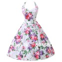 Fashion Stock Cotton Flower Print Ball Evening Prom Gown Short 50s 60s Retro Vintage Party Dresses 4 Size S~XL CL6075
