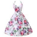 Fashion Stock Cotton Flower Print Ball Evening Prom Gown Short 50s 60s Retro Vintage Party Dresses 4 Size S~XL CL6075
