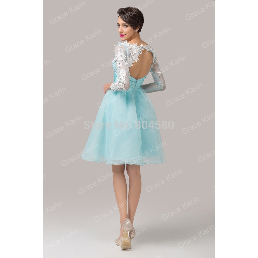 40a364ad2d Organza Open Back Ball Gown Formal Party Dresses Short Embroidery Women Cocktail  dress Long Sleeve Prom ...