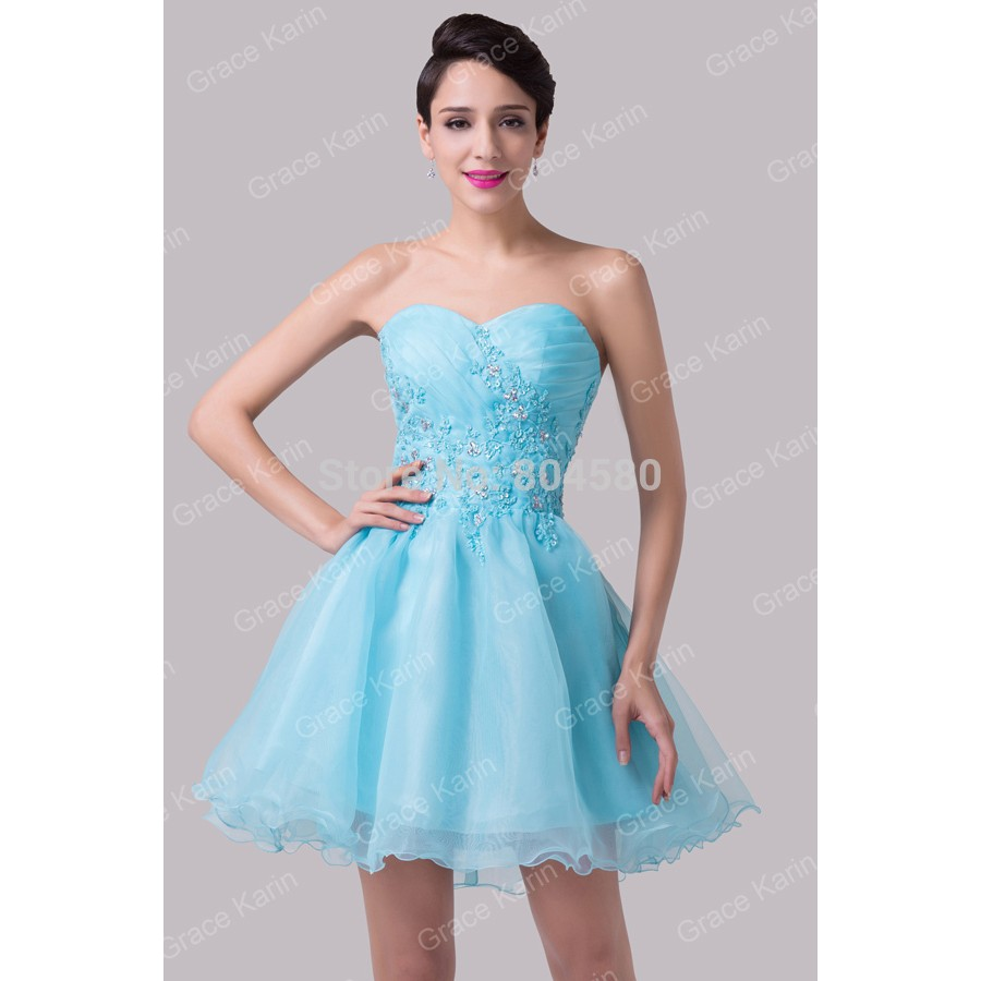 Sexy Beaded Ball Gown Blue Pattern Formal prom Gowns Short ...