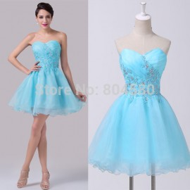 Sexy Beaded Ball Gown Blue Pattern Formal prom Gowns Short Cocktail Dresses Girl Birthday Dinner Party dress CL6182