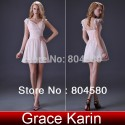 Stock Grace Karin Sexy V-neck A Line Short Prom Gown Special Occasion Cap Sleeve Cocktail Party dresses CL3471
