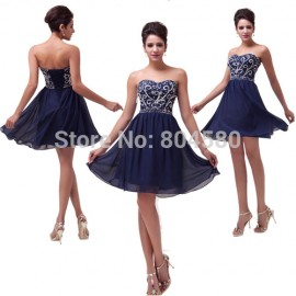 Stock Strapless Chiffon Women Homecoming Prom Dresses Short Cocktail Party Gown Sexy Blue Ball dress CL6049