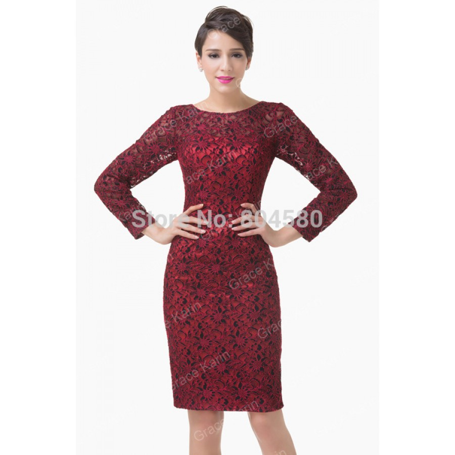 Women sexy designer long sleeve mother of the bride dress for Cocktail dress with sleeves for wedding
