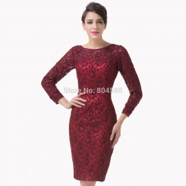 Women Sexy Designer Long Sleeve Mother of the Bride dress Short Celebrity Bandage Lace Cocktail Party dresses CL6278
