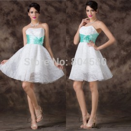 Sexy Design Knee Length Waistband White Celebrity Party dress Women Homecoming Prom dresses Short Evening Ball Gown CL6211