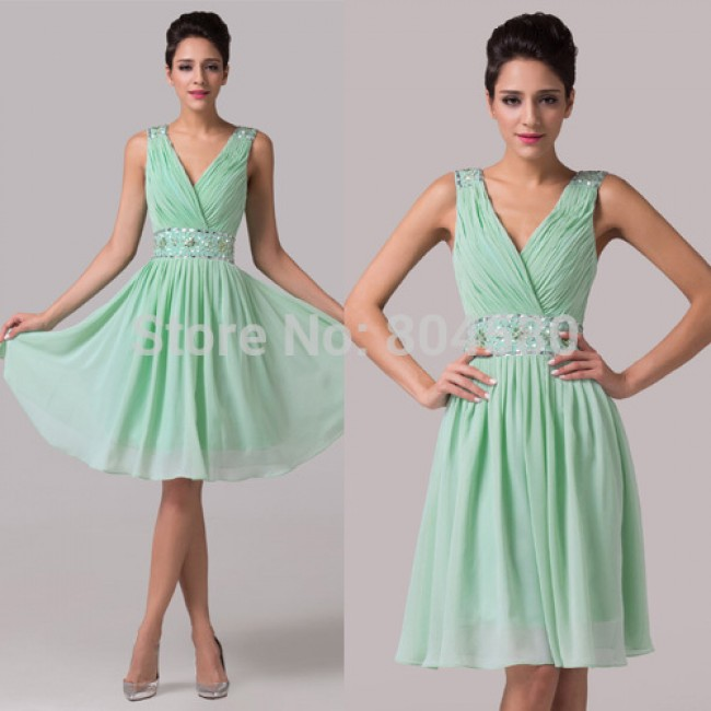 2015 New Cheap Knee Length Sleeveless Tank Chiffon Prom dress Women Summer Party Gown Short Cocktail dresses Homecoming 6104
