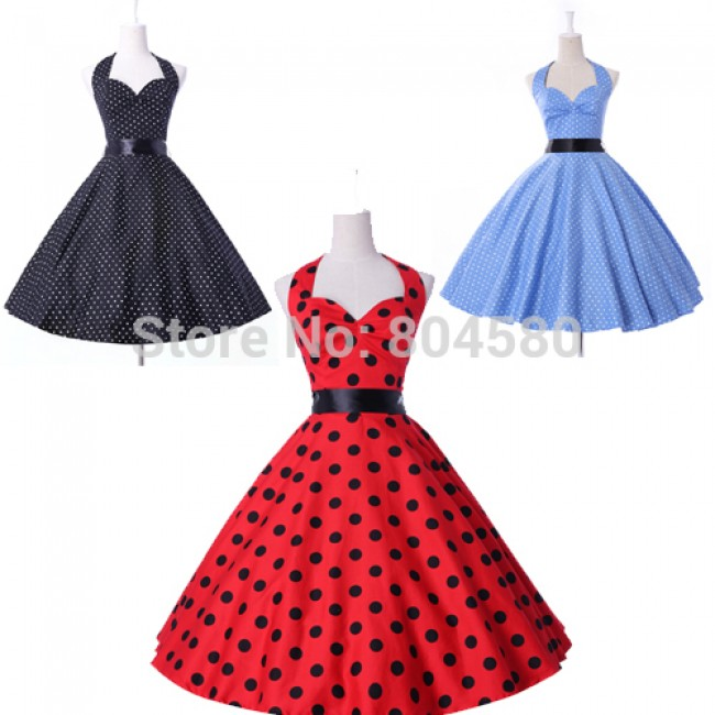 2015 New! Free Shipping Stock Cotton Women Vintage Polka Dots Ball Evening Prom Retro Party Dress CL4599