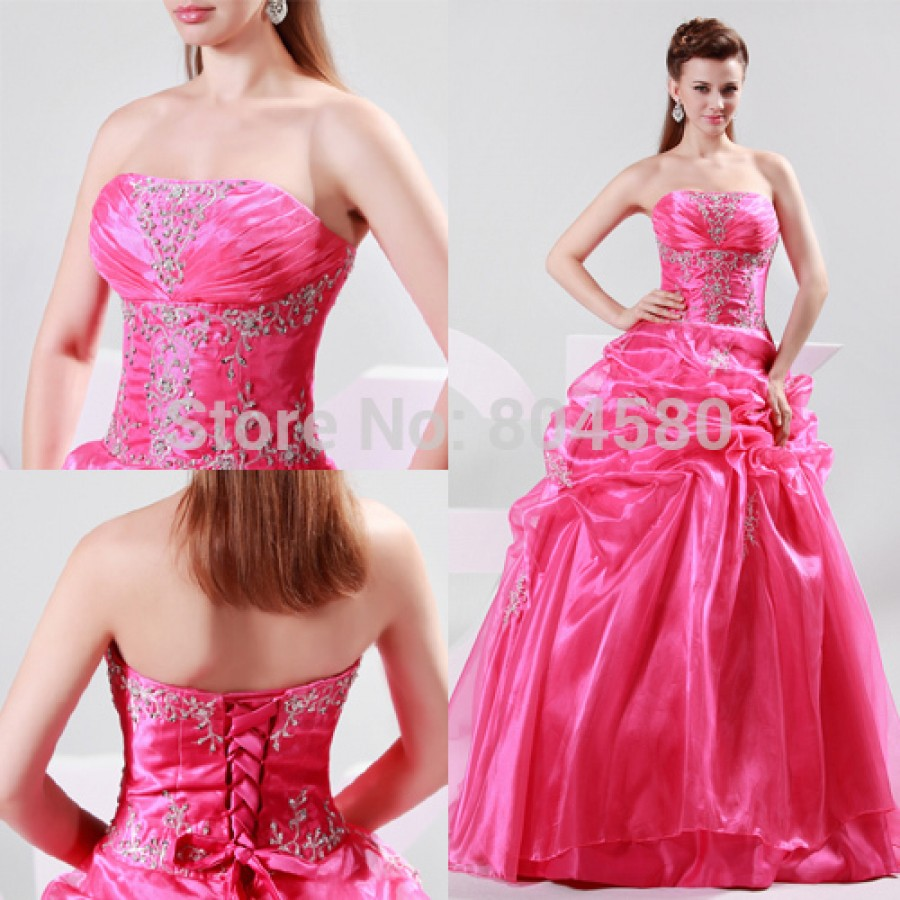 2015 New Free shipping Grace Karin Red Princess Ball Gown Long ...