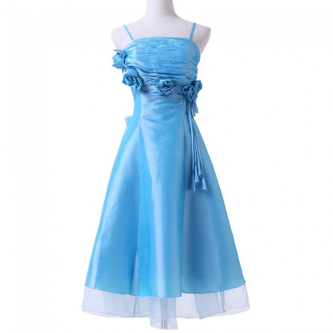 2015 New Mid Calf Bridesmaid Dress for Children Wedding Blue Spaghetti Strap Girl's pageant communion dresses CL6071