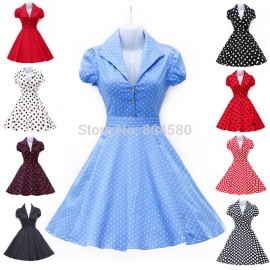2015 New Spring Summer Short Sleeve Women Vintage Dress 50s Rockabilly Bohemian Floral Polka Dots Dresses Casual Party Gown 6089