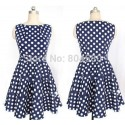 2015 New Summer Women 50s Vintage Polka Dots Dress Rockabilly Swing Casual Party Gown Sleeveless Dance Dresses Plus Size 5743