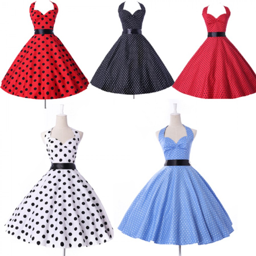 2015 Summer New Women Cotton Sleeveless Party Dress Plus Size Polka ...
