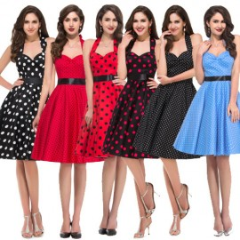 2015 Summer New Women Cotton Sleeveless Party Dress Plus Size Polka Dots Print Pattern Vintage dress Swing Rockabilly Ball Gown