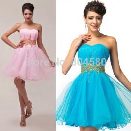 2015 Summer Strapless Cocktail Dress Blue Homecoming dresses Ball Gown Sleeveless Short Prom Gowns vestido de festa curto 4972