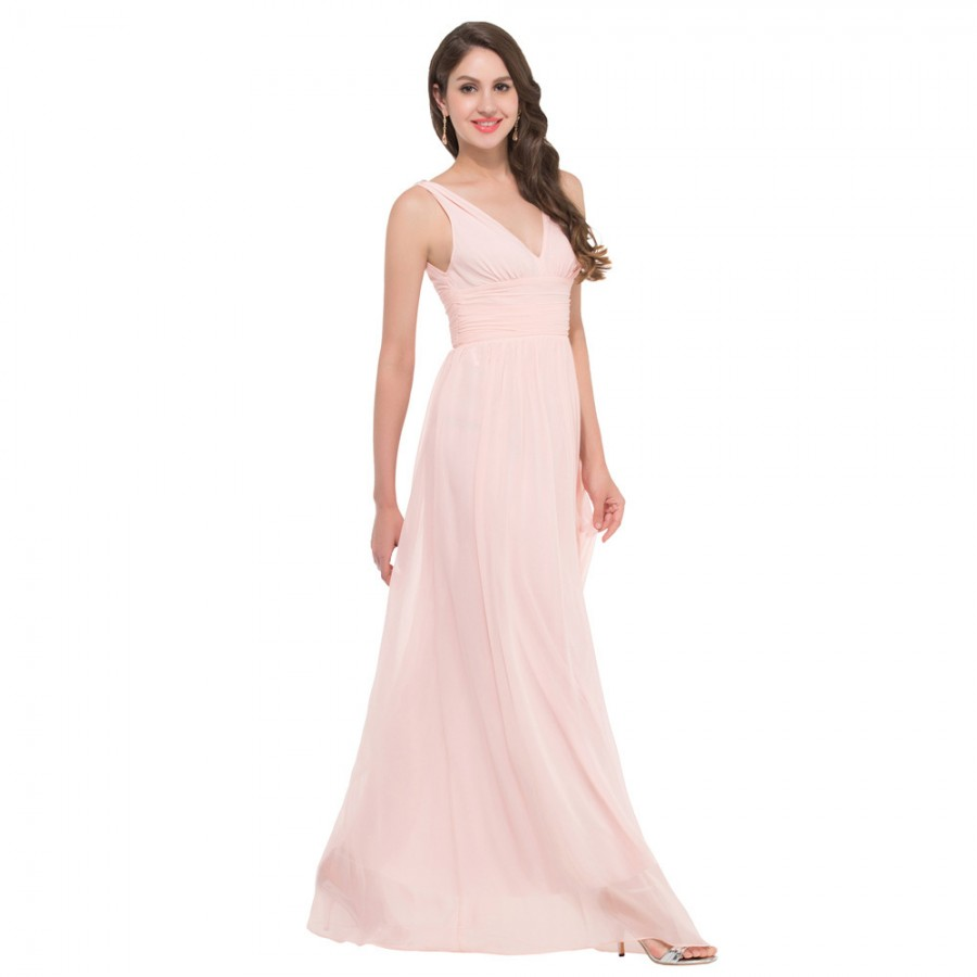 2015 Two Straps Deep V Neck Chiffon Cheap Long Pink