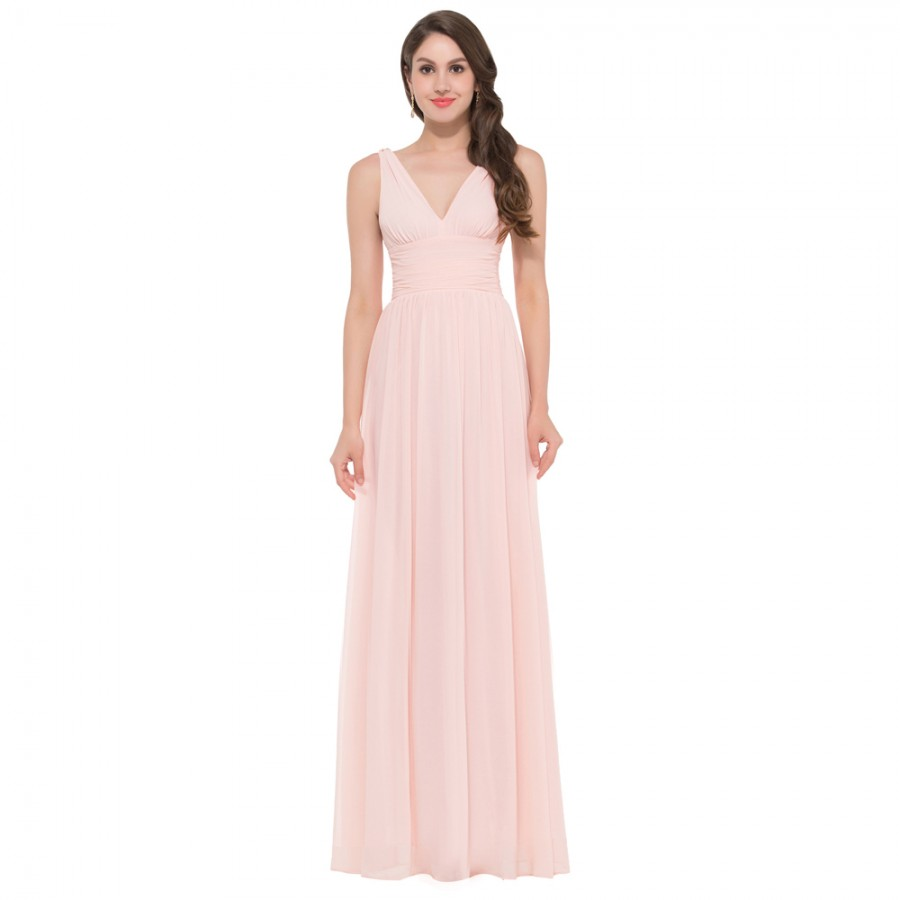 2015 two straps deep v neck chiffon cheap long pink for Cocktail length wedding dresses