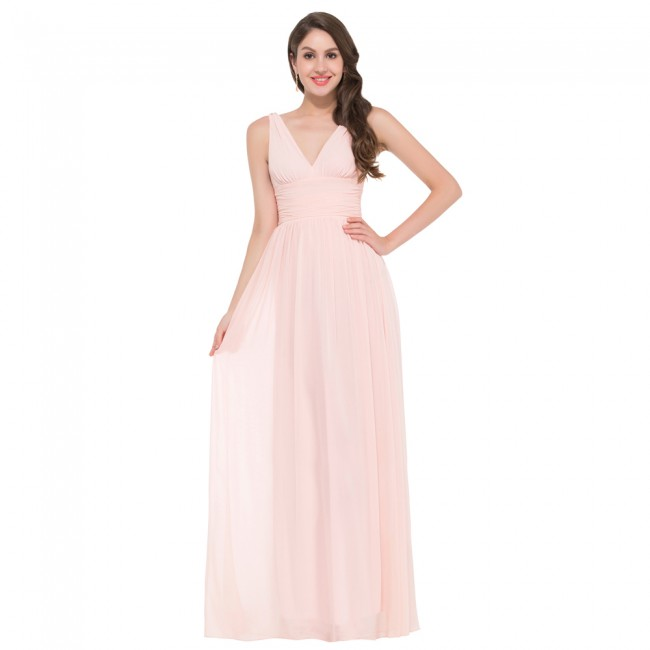 2015 Two Straps Deep V neck Chiffon Cheap Long Pink Bridesmaid Dresses Floor Length Wedding Prom Dress Party Gown Women GK10