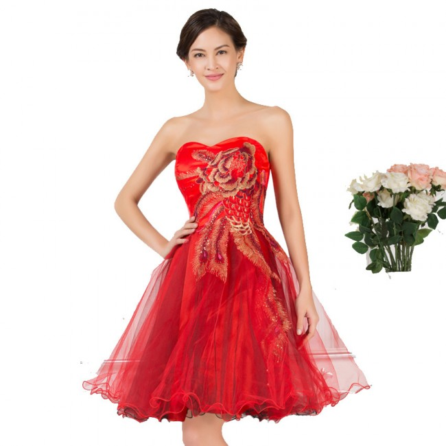 5 Colors Knee Length Corset Cheap Bridesmaid Dresses Short Brides Maid Wedding Party Dress Appliques Formal Ball Gowns 7541