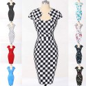 9 Styles Women Clothing Cap Sleeve Casual Floral Print Vintage dress Pattern Polka Dots 50s Bandage Dresses Plus Size Gown 7597
