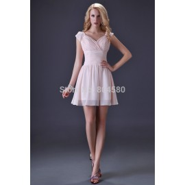 Actual Images Grace Karin Sexy Stock V-neck Chiffon Pink Homecoming party dress short Evening Prom Dresses  CL3471