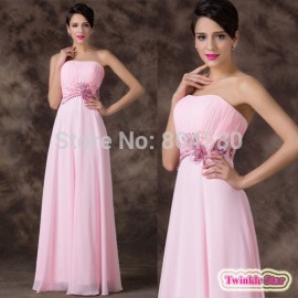 Amazing Beautiful A-Line Floor Length Appliques Waist Long Prom dresses Pink Bridesmaid dress Formal Party Gown Women CL6193