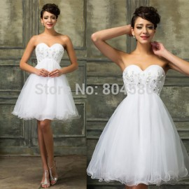 Charming New Ball Gown Sleeveless White Beaded Formal Party Homecoming Dress 2015 Short Prom Dresses for Graduation Gowns 3820