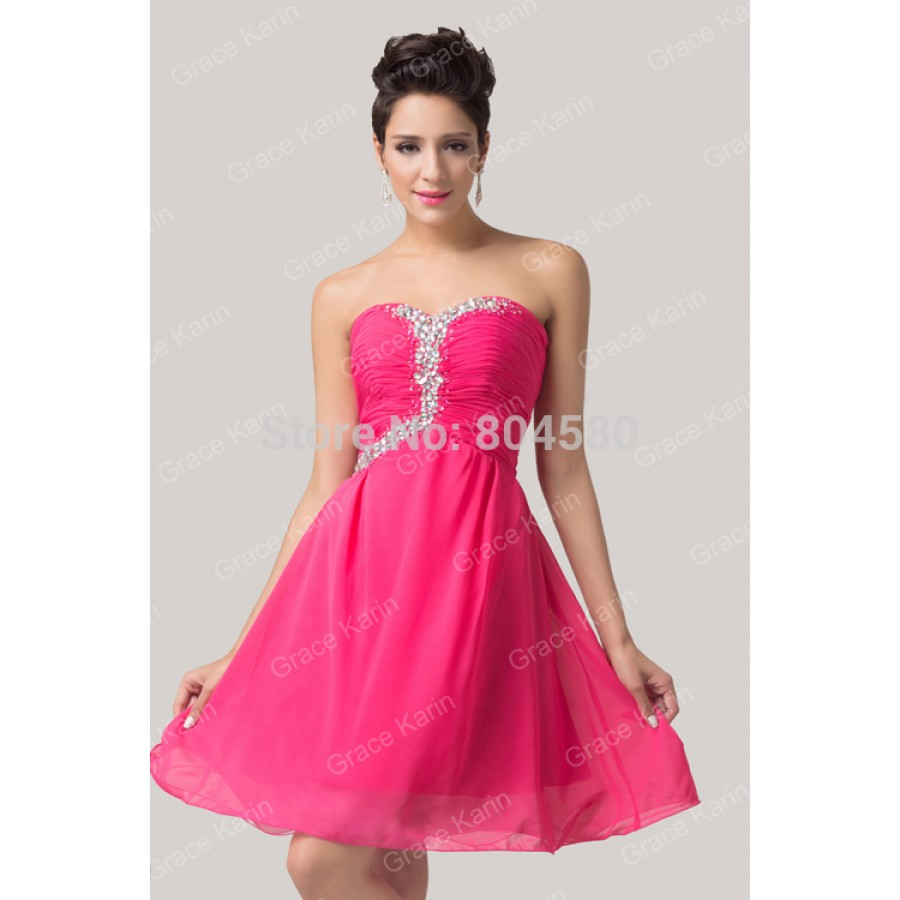 f8ac2cc4286 Cheap Elegant Deep Pink Sweetheart Chiffon Homecoming dresses Short  Cocktail Prom Party Ball dress Women Knee Length ...
