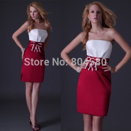 Cheap In Stock Sleeveless One Piece Straight Prom dress  Women Bandage Knee length Cocktail dresses to Party Gown CL3475