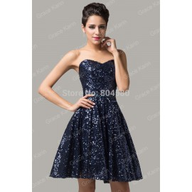 Cheap Strapless Sequins Fashion Women Summer Runway dress Short Evening party dresses Formal prom Gown CL6133 (AL12)