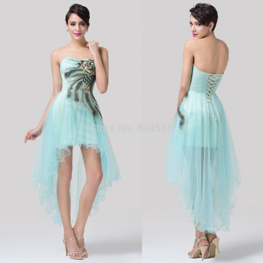 Sweetheart Blue Green High Low Cocktail Party dresses Short Special ...