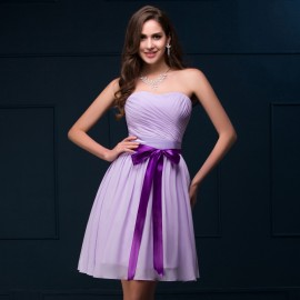 Cheap Custom Made 2015 China Chiffon Cocktail Dress Sashes Women Formal Prom dresses Knee Length Short Party Gown Purple CL8911