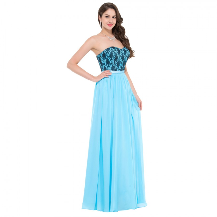 Affordable Wedding Guest Dresses: Cheap Floor Length Corset Appliques Blue Long Bridesmaid