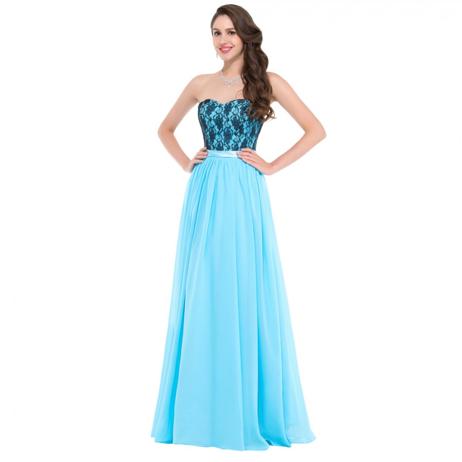 Cheap Floor length Corset Appliques Blue Long Bridesmaid Dress Party ...
