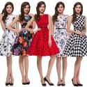 Cheap Women Winter Sleeveless Casual Polka Dots Floral Print Dresses Vintage Party Dress 50s Swing Rockabilly Beach Ball Gown