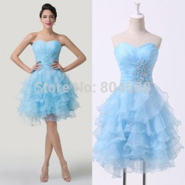 Classic Grace Karin Stock Strapless Blue Short Graduation dress Cocktail Party Gown Knee Length Sequin Prom dresses CL6283