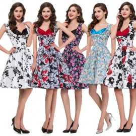 Country Desigual 50s Women Summer Dress Sleeveless Vintage Dresses Knee Length Casual Flower Print Pattern Gown Plus Size 8901