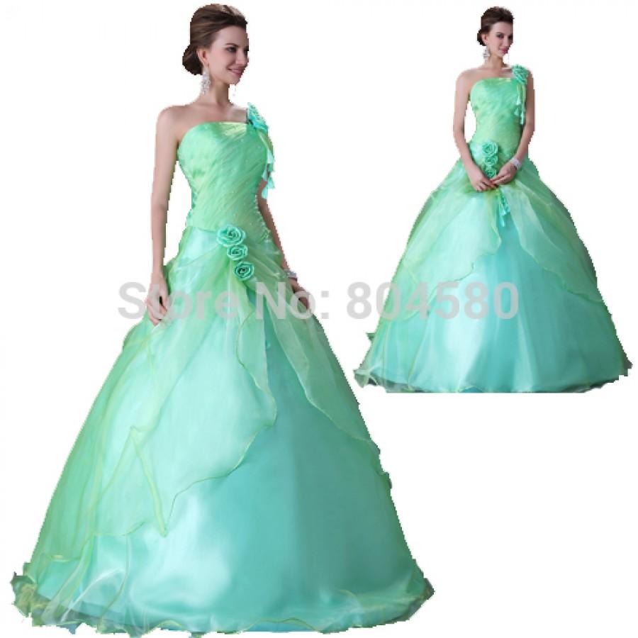 Elegant Design Rose Decoration One Shoulder Ball Gown Wedding Dress ...
