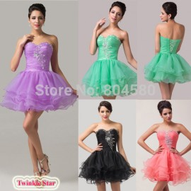 Elegant Queen Princess Homecoming Ball Gown Prom Dresses Knee length Tutu dress Short Cocktail dress Party Women CL6077