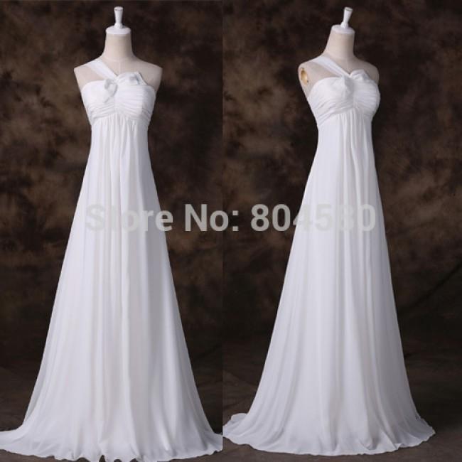 Elegant White Color Floor length A Line Prom Gown Chiffon Vintage Bridesmaid dresses Formal Party dress  Long Women CL7505