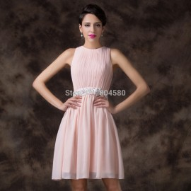 Elegant Knee Length high neck Chiffon Short Debutante dance Prom Gown Girl Cocktail Party dress Homecoming dresses CL6222