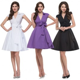 Elegant Turn Down Collar Short Sleeve Vintage dresses Plus Size Women Rockabilly Swing Dress 1950s Vestido Casual Style 6087