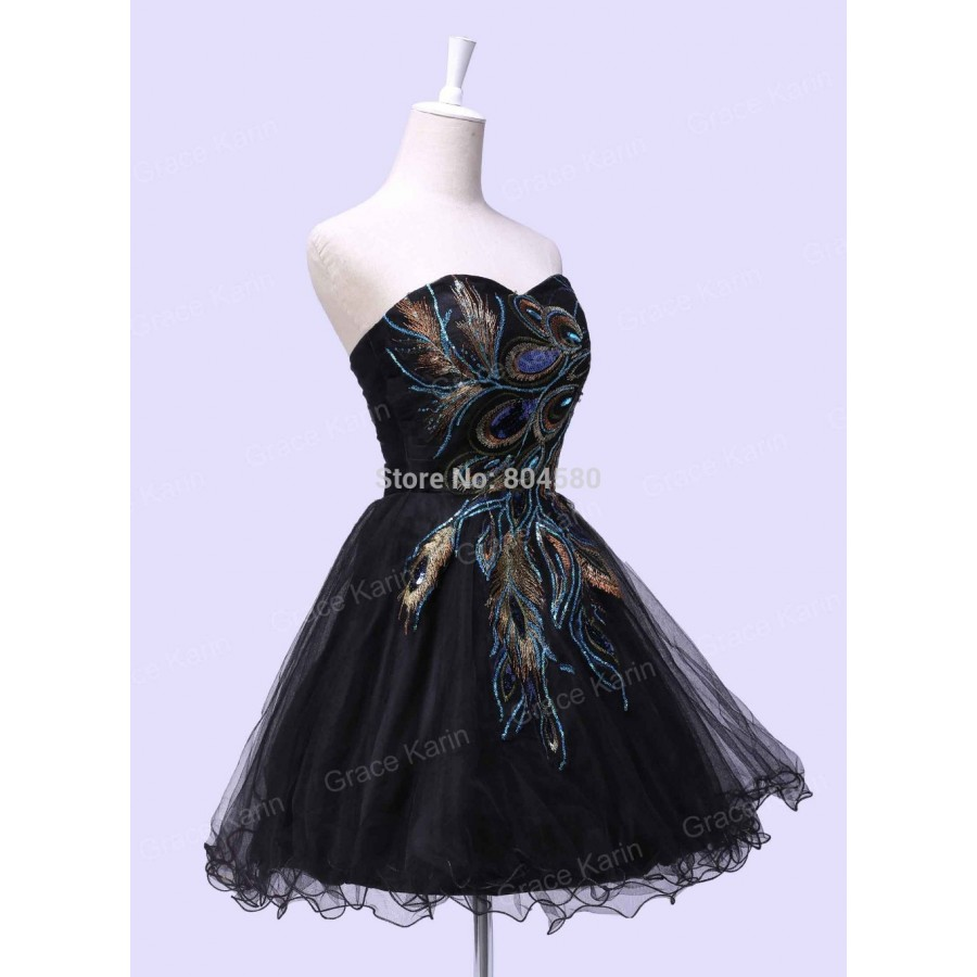 d0f0e1fb1855 Fashion Peacock Applique Prom Gown Black Cocktail Party Dress Short Girl's Winter  Homecoming dresses Graduation CL4975
