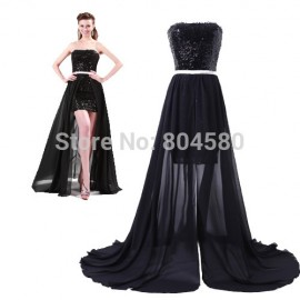 Fashion 8th Grade High-Low Cocktail Party Gown Black homecoming dresses Short Formal Prom dress For Special Occasion CL4408